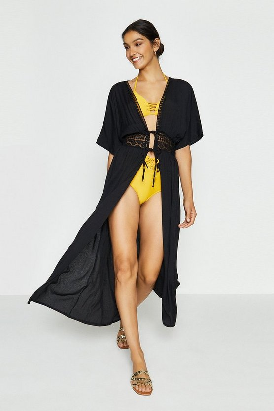Black Tie Front Long Kaftan