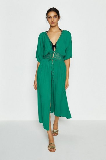 Green Tie Front Long Kaftan