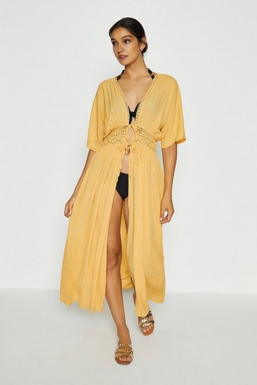 Yellow Tie Front Long Kaftan