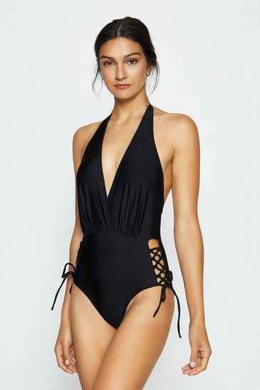 Black Lace Up Bottom Swimsuit