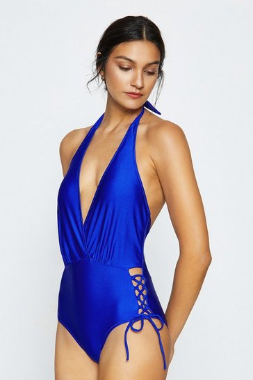 Cobalt Lace Up Bottom Swimsuit