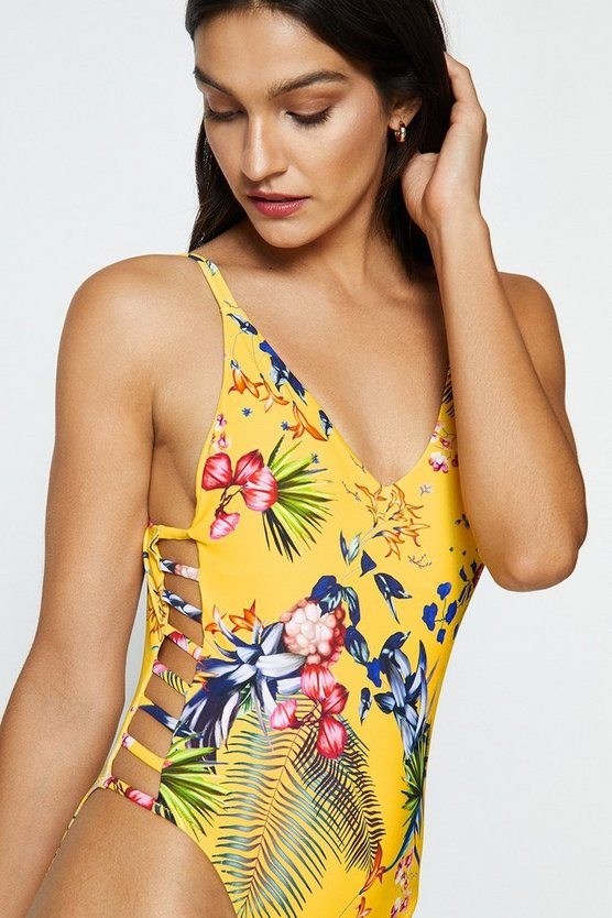 Yellow Tropical Print Strap Side Swimsuit