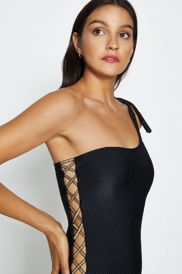 Black One Shoulder Swimsuit