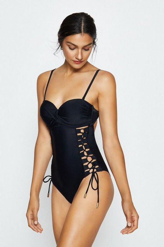 Black Lace Up Swimsuit