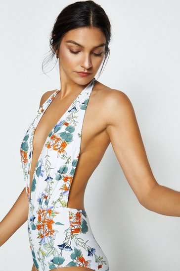 Ivory Floral Print Halter Neck Swimsuit