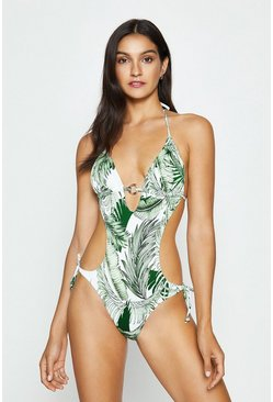 Ivory Tropical Print Cut Out Swimsuit