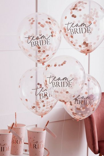Clear Ginger Ray Confetti Balloons Team Bride