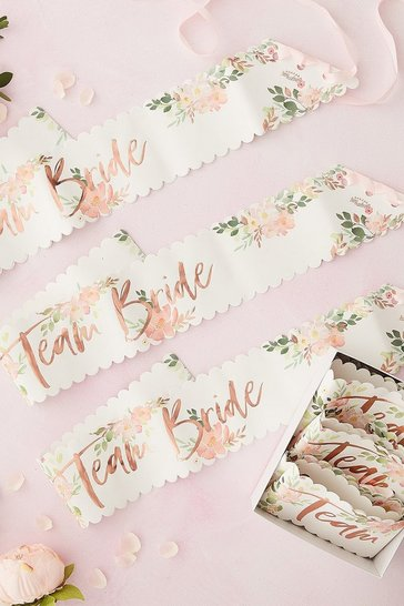 Pink Ginger Ray- Team Bride Sashes - 6 Pack