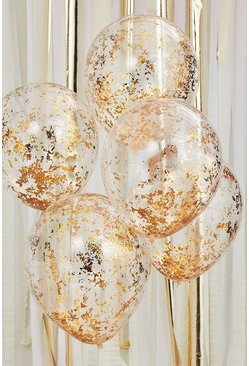 Clear Ginger Ray-Gold Confetti Balloons