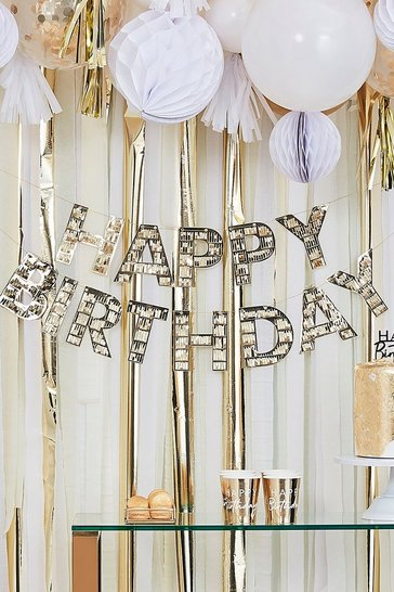 Clear Ginger Ray-Gold Fringe Birthday Bunting
