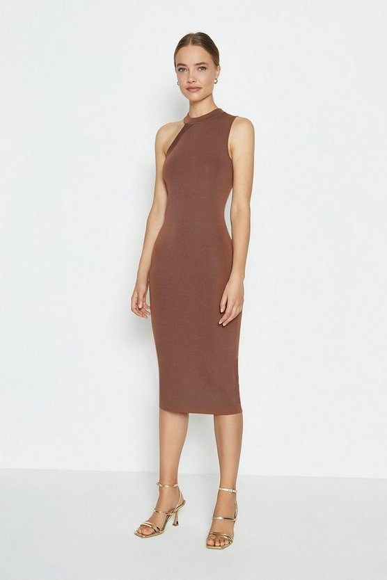 Mocha Asymmetric Shoulder Knitted Midi Dress
