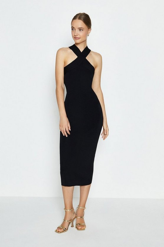 Black Cross Strap Knitted Midi Dress