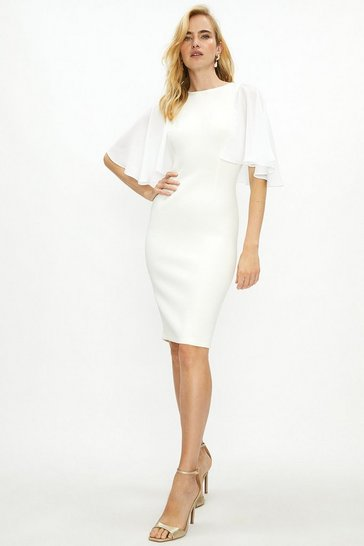 Ivory Woven Flare Sleeve Scuba Dress