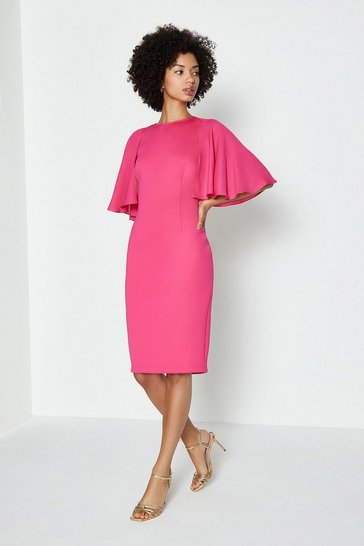 Pink Woven Flare Sleeve Scuba Dress