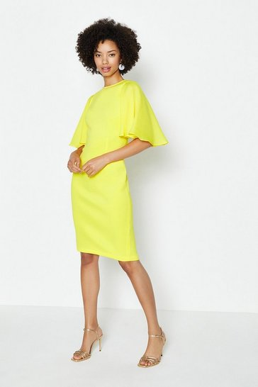 Yellow Woven Flare Sleeve Scuba Dress
