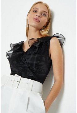 Black Organza V Neck Ruffle Top