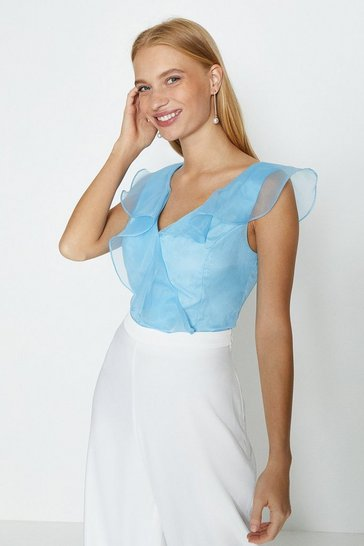 Ice blue Organza V Neck Ruffle Top