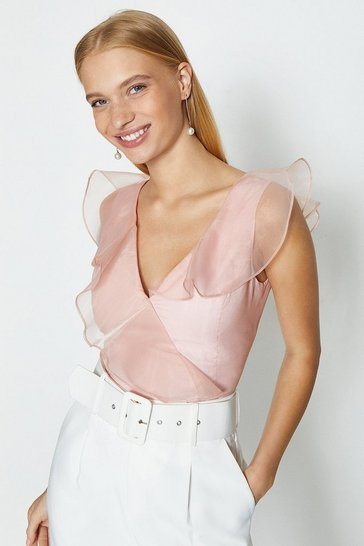 Pink Organza V Neck Ruffle Top