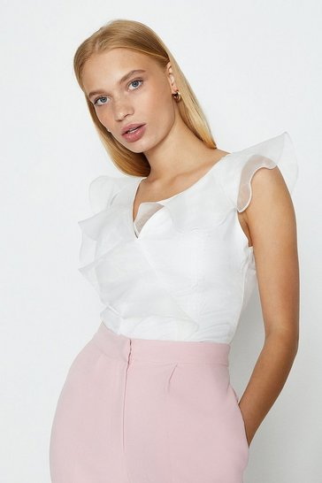 White Organza V Neck Ruffle Top