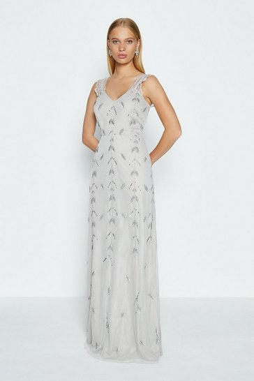 Silver Lace Strap Embellished Maxi Dress