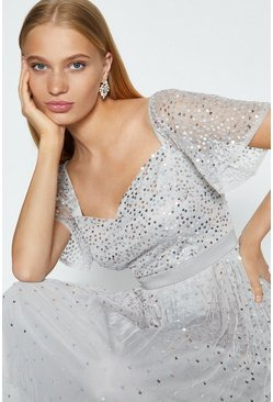 Silver Short Sleeve Scatter Sequin Midi Dress