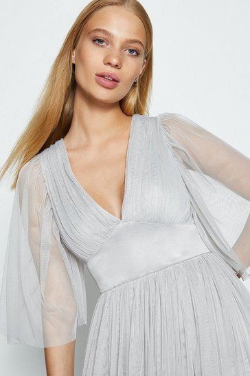 Silver Cape Sleeve Plunge Neck Tulle Maxi Dress