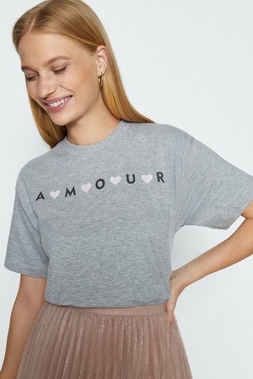Grey marl Amour Heart Front Print T-Shirt