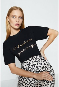 Black Kindness Magic Foil Front Print T-Shirt