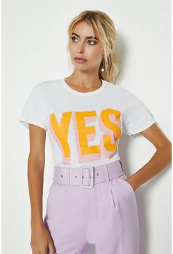 White Yes Front Print T-Shirt