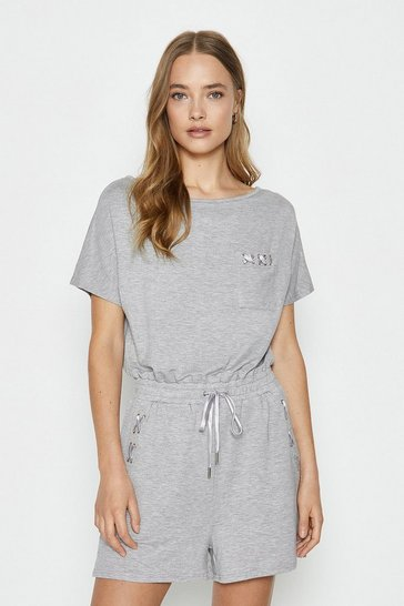 Grey marl Eyelet Playsuit