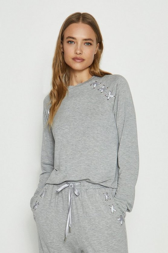 Grey marl Eyelet Long Sleeved Top