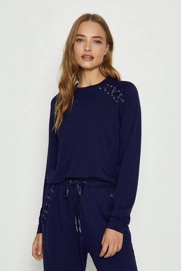 Navy Eyelet Long Sleeved Top