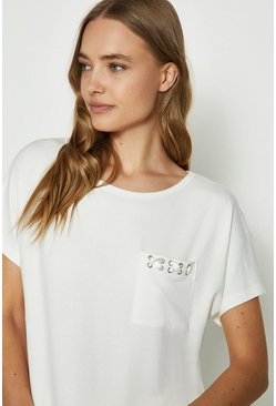 Ivory Eyelet Short Sleeve Top