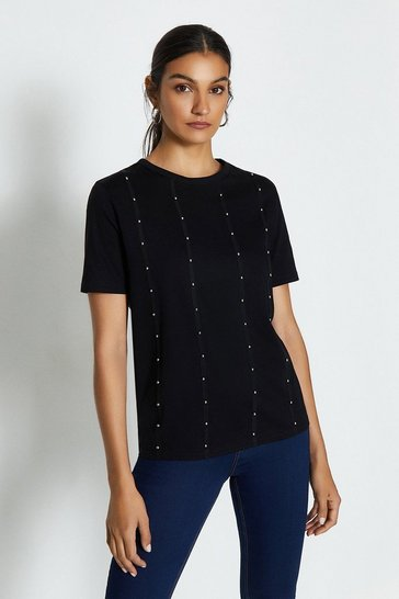 Black Short Sleeve Stud Front T-Shirt