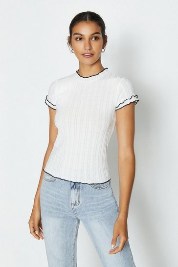 Ivory Short Sleeve Contrast Neck T-Shirt