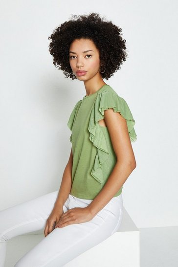 Olive Tulle Ruffle T-Shirt