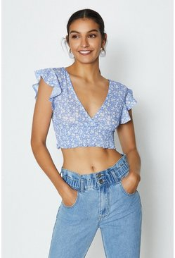 Blue Tie Back Ruffle Sleeve Short Top