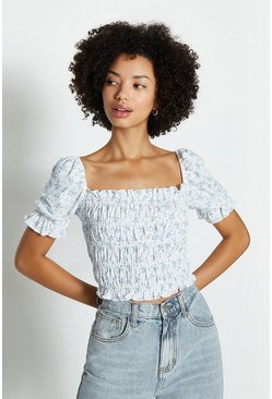 Blue Puff Sleeve Shirred Bodice Top