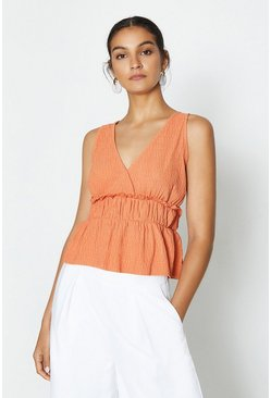 Rust Sleeveless V-Neck Shirred Waist Top