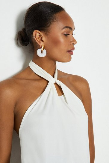 Ivory Twist Neck Halter Top
