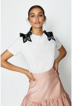 Ivory Short Sleeve Bow Detail T-Shirt