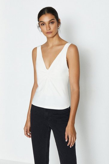 Ivory Sleeveless Twist Front Cami Top