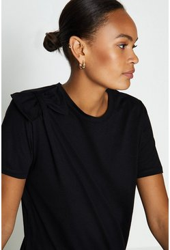 Black Bow Shoulder Cotton T-Shirt