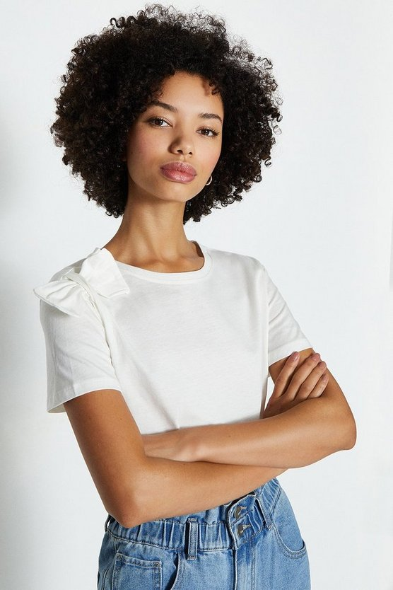 Ivory Bow Shoulder Cotton T-Shirt