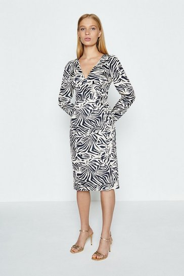 Animal Long Sleeve Zebra Print Wrap Dress