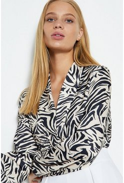 Animal Zebra Print Wrap Body Suit