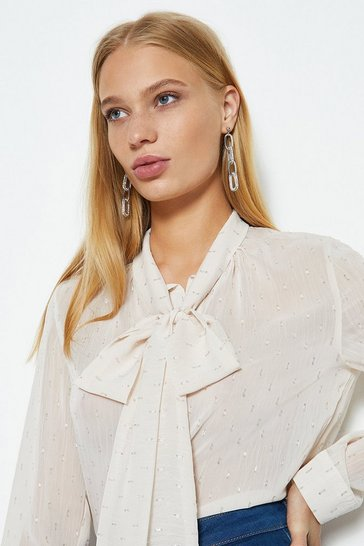 Nude Long Sleeve Pussy Bow Top