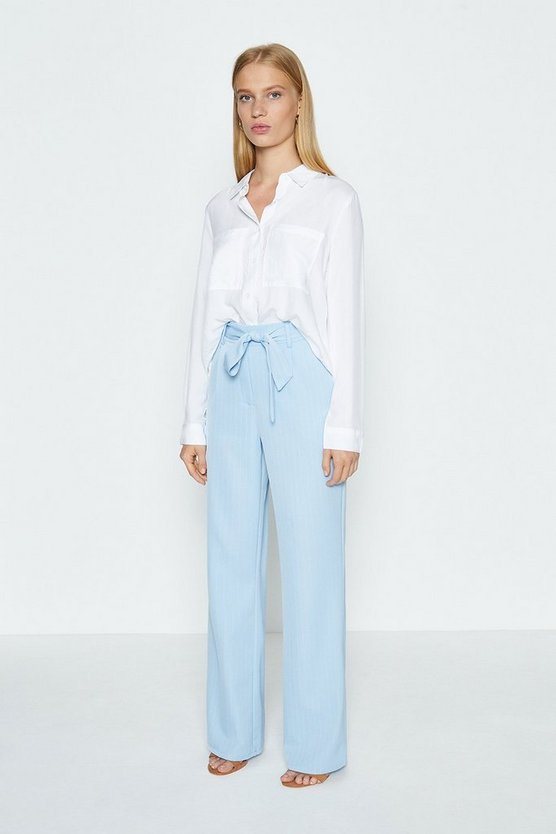 Pale blue Tailored Self Tie Trousers