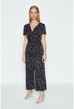 Black Floral Print Twist Front Crop Jumpsuit