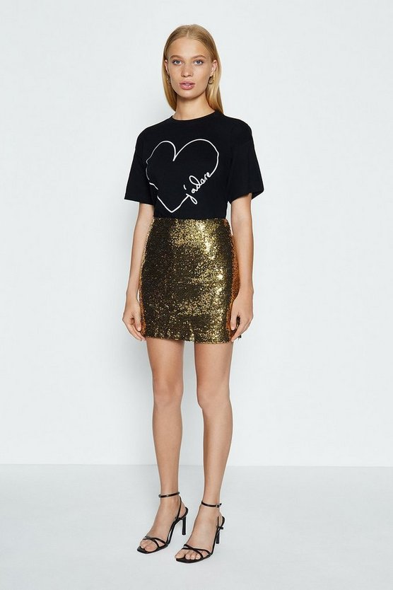 Gold Sequin Mini Skirt